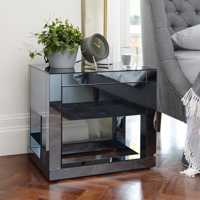 Reflect smoked mirrored bedside table