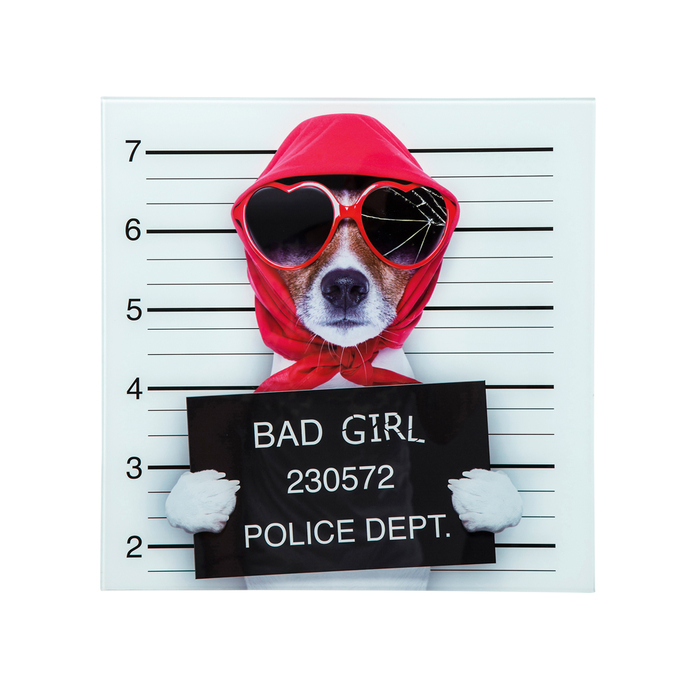 Bad girl dog glass wall art