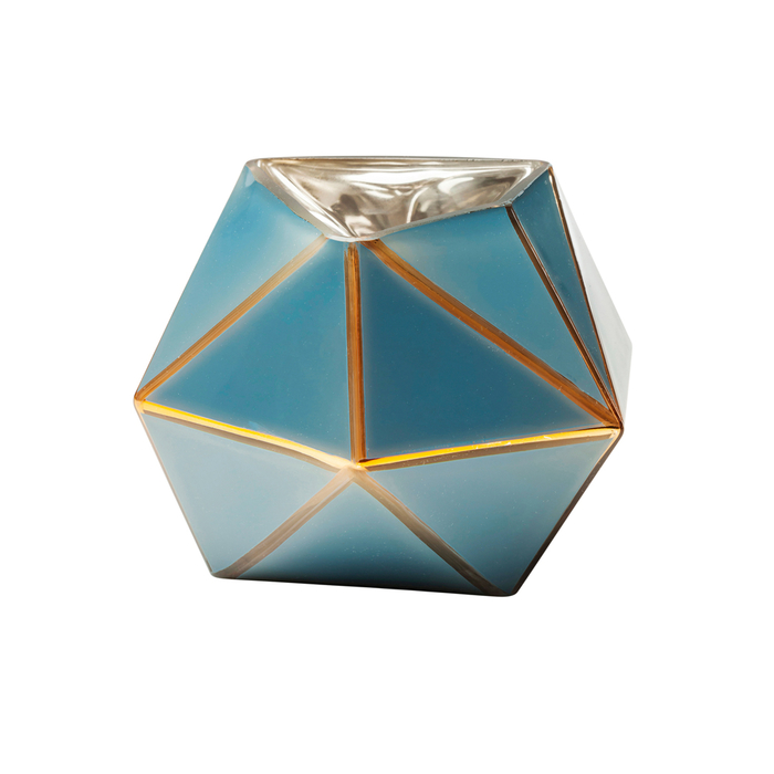 Triangles glass vase blue