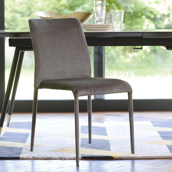 Svelte dining chair grey velvet