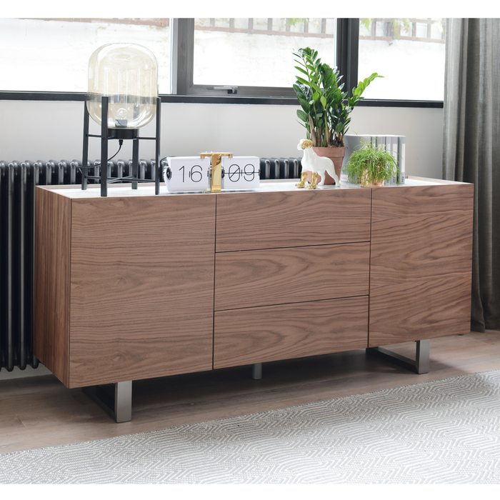 Trento sideboard walnut and marble ceramic