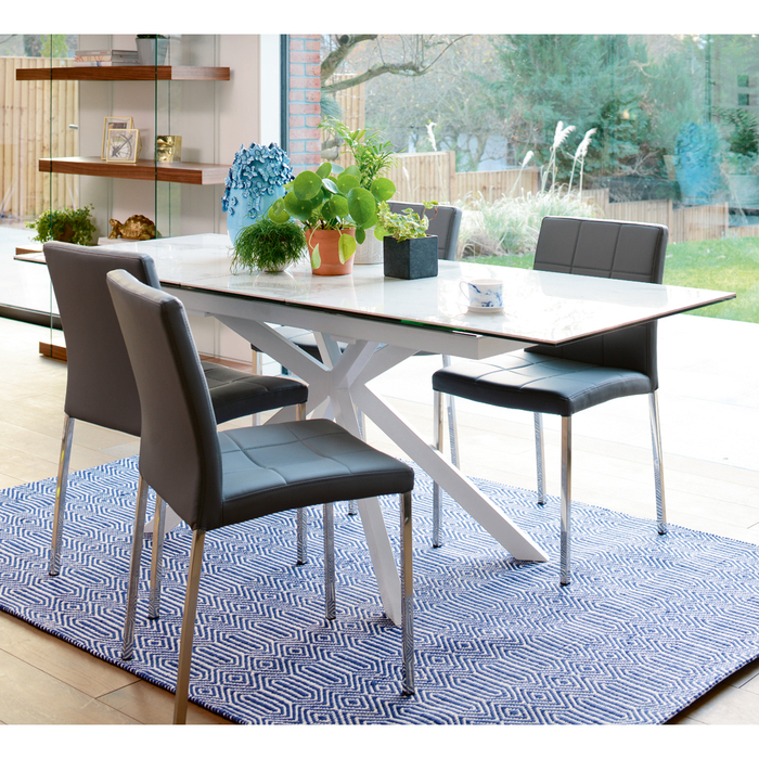 8 Seater Dining Table: Bolzano Marble Ceramic Extending 6-8 Seater Dining Table