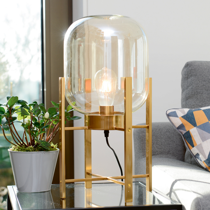Poise amber glass shade table light gold