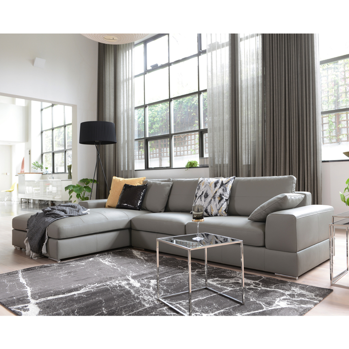 Verona leather left hand corner sofa light grey