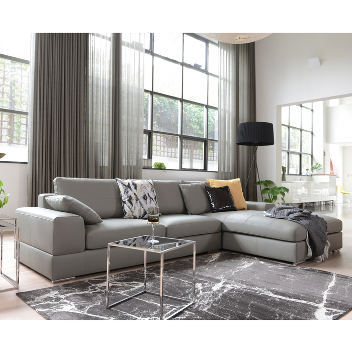 Verona Leather Right Hand Corner Sofa Light Grey | dwell - £2,079