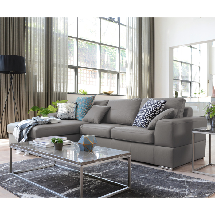 Admirable Verona Leather Left Hand Corner Sofa Bed With Storage Light Grey Dwell 2 399 Ocoug Best Dining Table And Chair Ideas Images Ocougorg