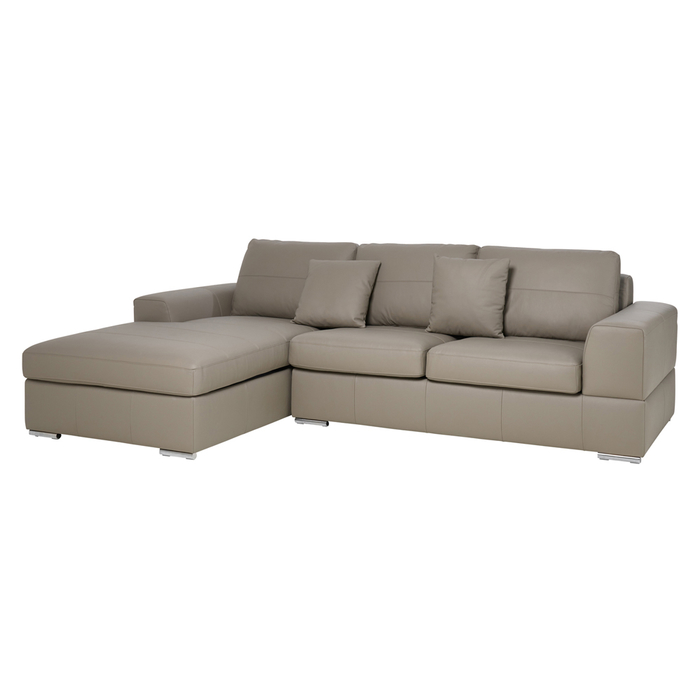 Verona leather left hand corner sofa bed with storage light grey