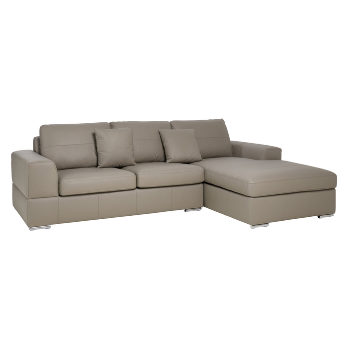 Verona leather right hand corner sofa bed with storage light grey