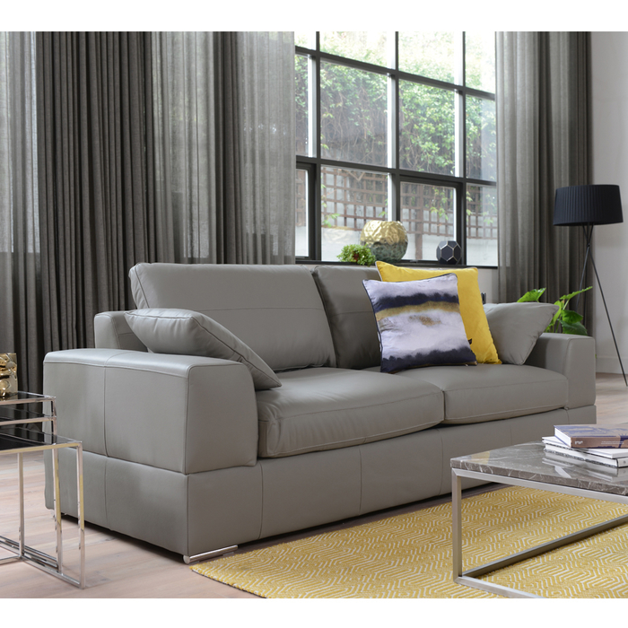 Verona leather three seater sofa bed light grey