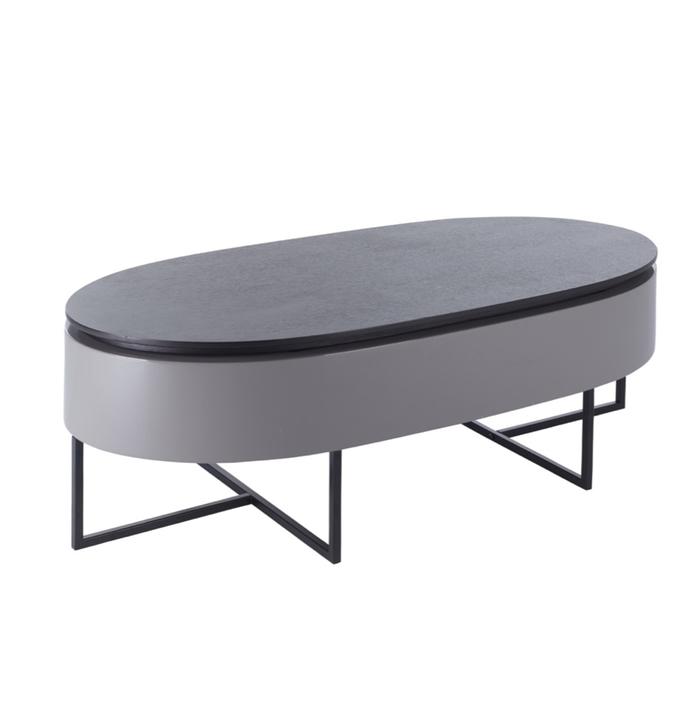 Pod lift up coffee table stone gloss and darkwood