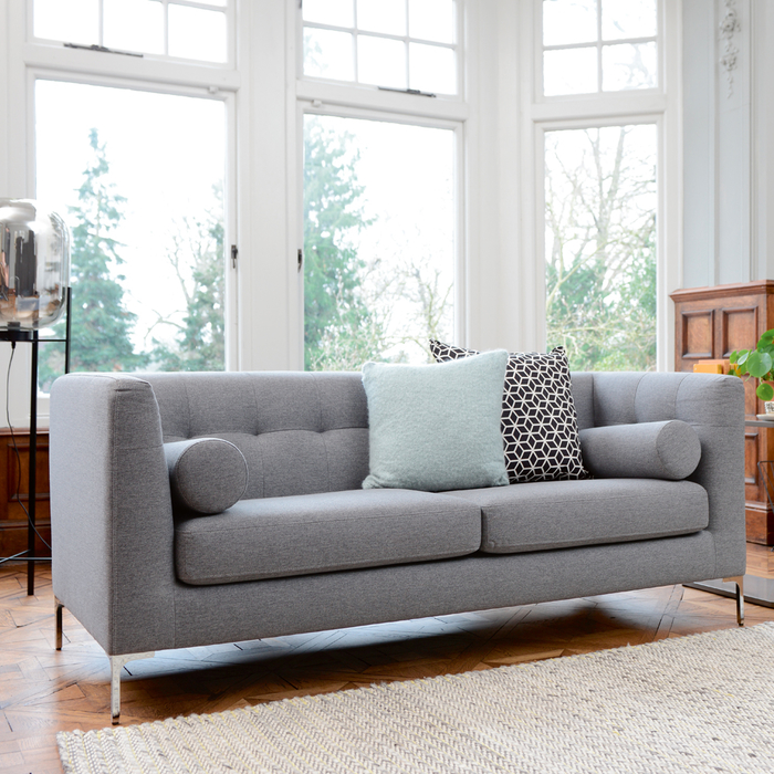 Lyon three seater sofa grey fabric