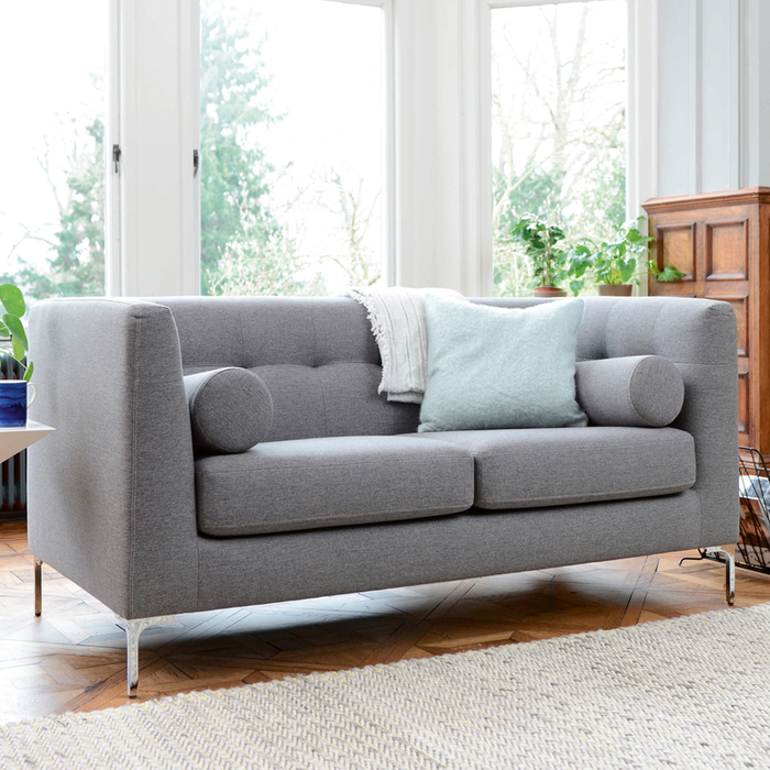 Grey Lounge Suite: Lyon Two Seater Sofa Grey Fabric