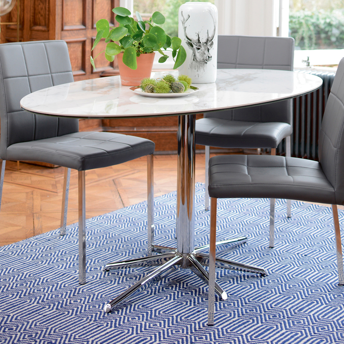 Stellar marble effect ceramic 6 seater dining table
