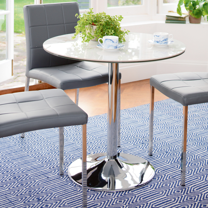 Palermo marble effect ceramic 2-3 seater dining table