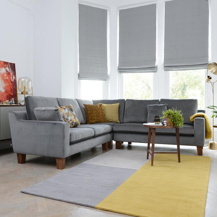 Ankara full corner sofa grey velvet