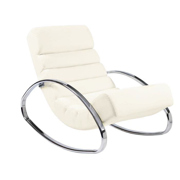 Ripple rocker with chrome legs white