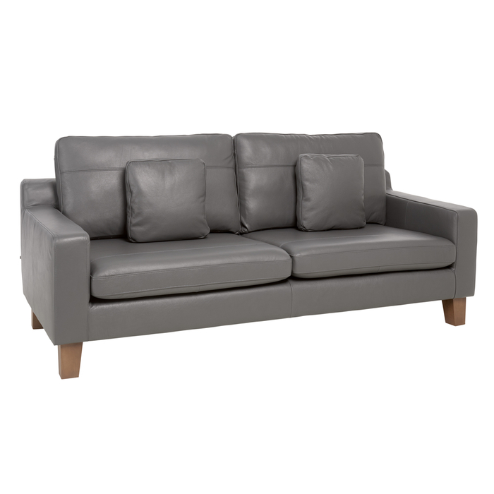 Ankara leather three seater sofa grey