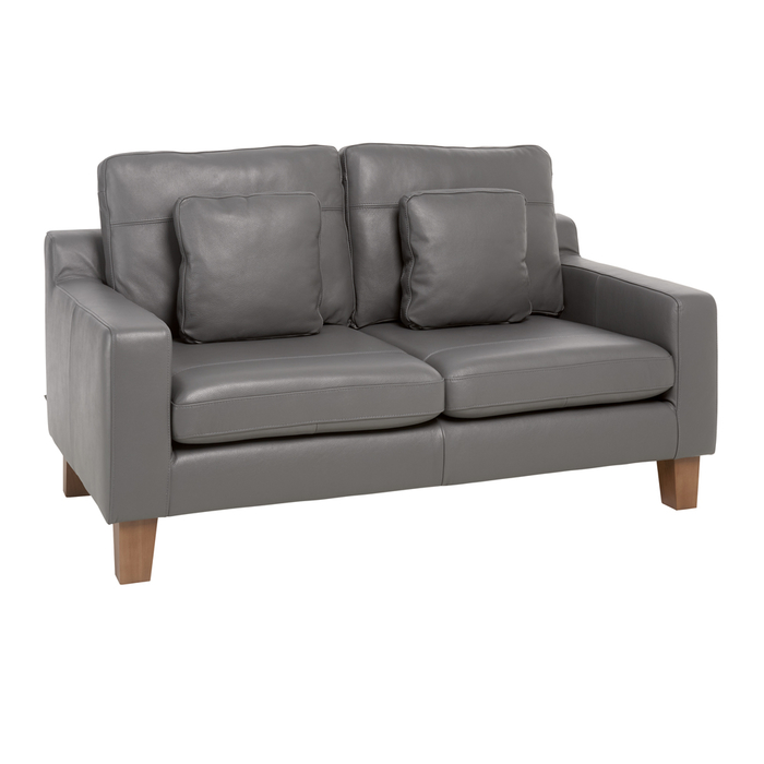 Ankara leather two seater sofa grey