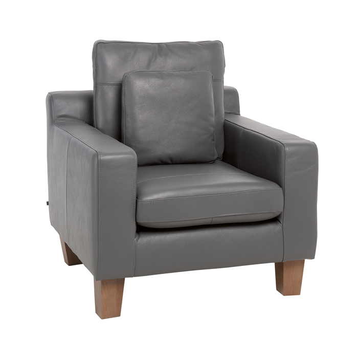 Ankara leather armchair grey