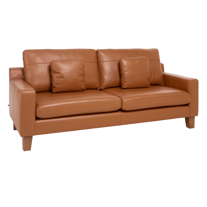 Ankara leather three seater sofa natural tan