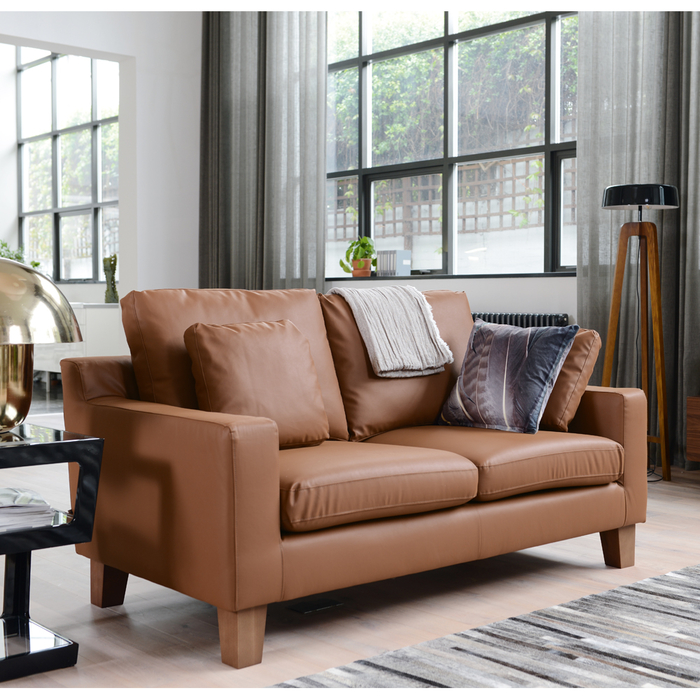 Ankara leather two seater sofa natural tan
