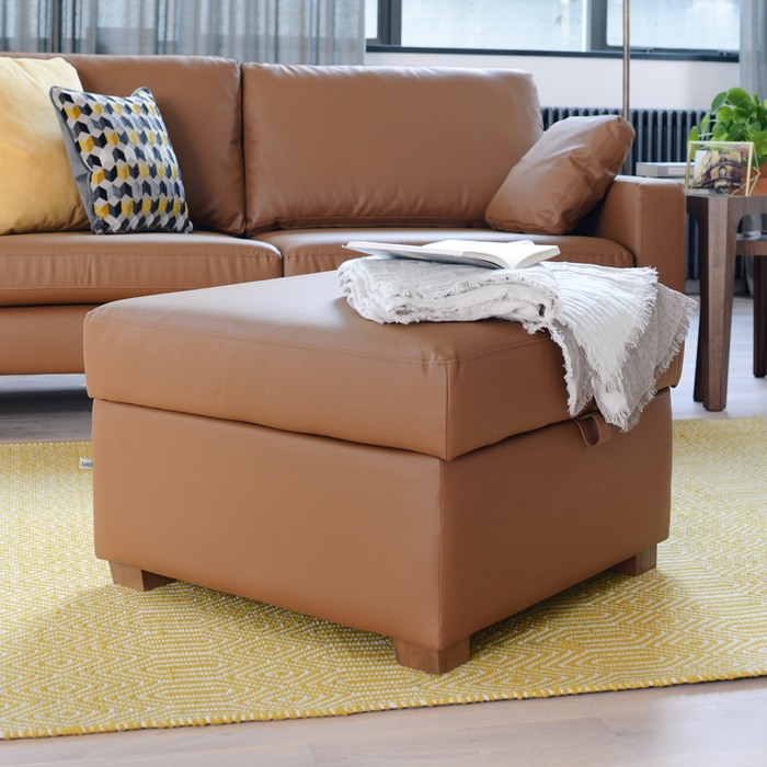 Ankara leather footstool with storage natural tan