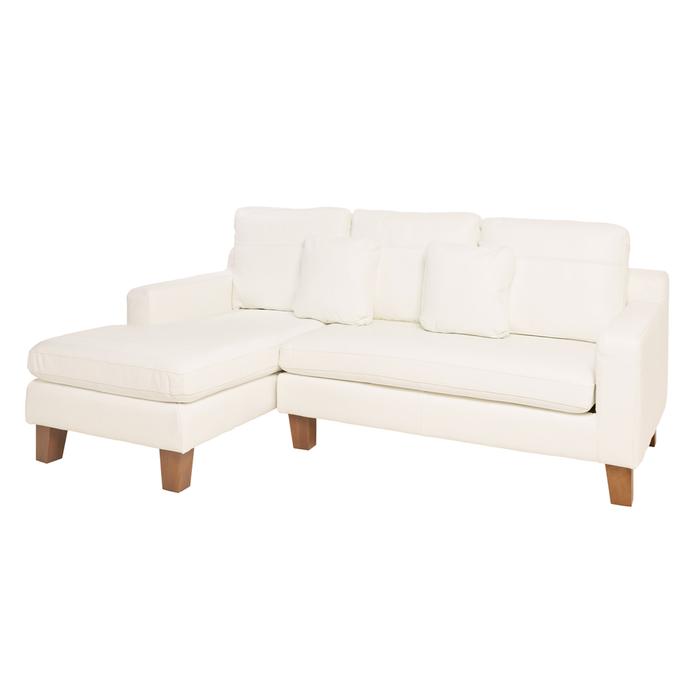 Ankara leather left hand corner sofa brilliant white