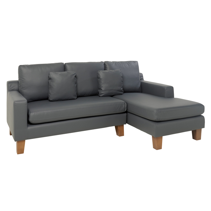 Ankara faux leather right hand corner sofa grey