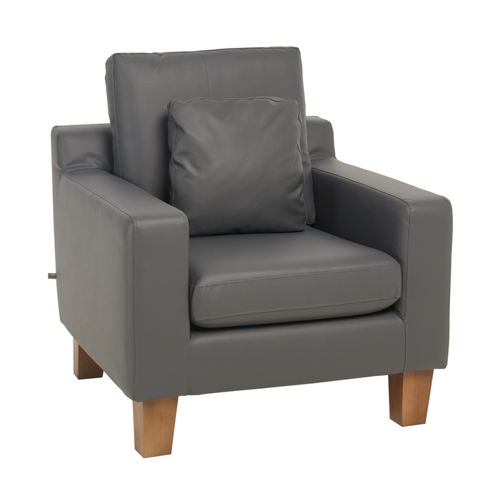 Ankara faux leather armchair grey