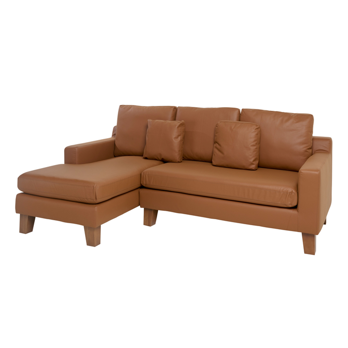 Ankara faux leather left hand corner sofa tan