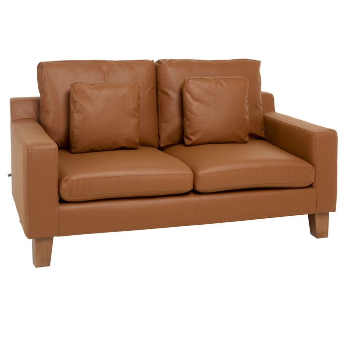 Ankara faux leather two seater sofa tan