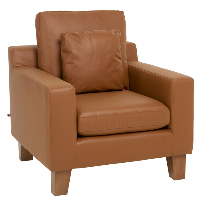 Ankara faux leather armchair tan
