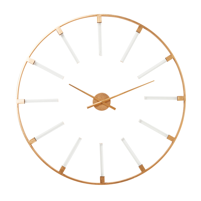 Bars gold and clear wall clock large