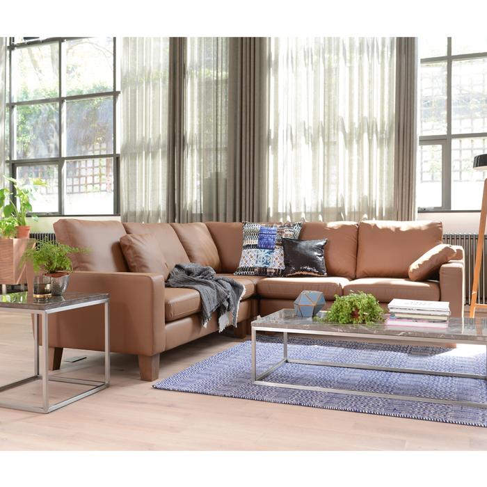 Ankara leather full corner sofa natural tan