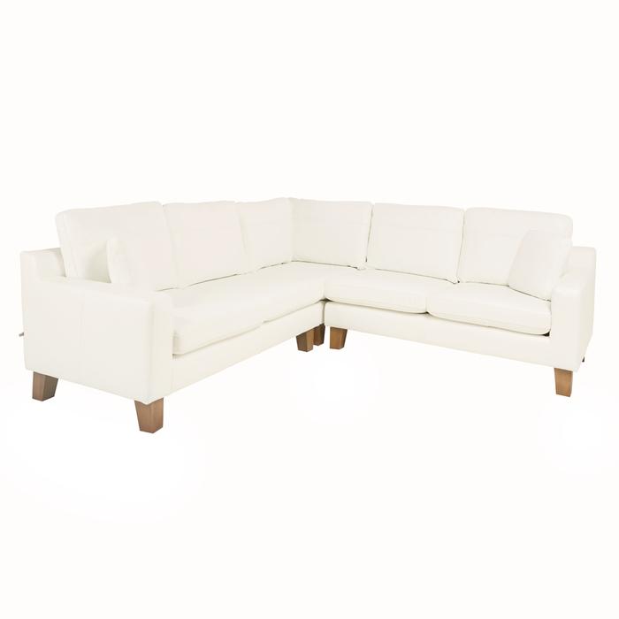 Ankara leather full corner sofa brilliant white