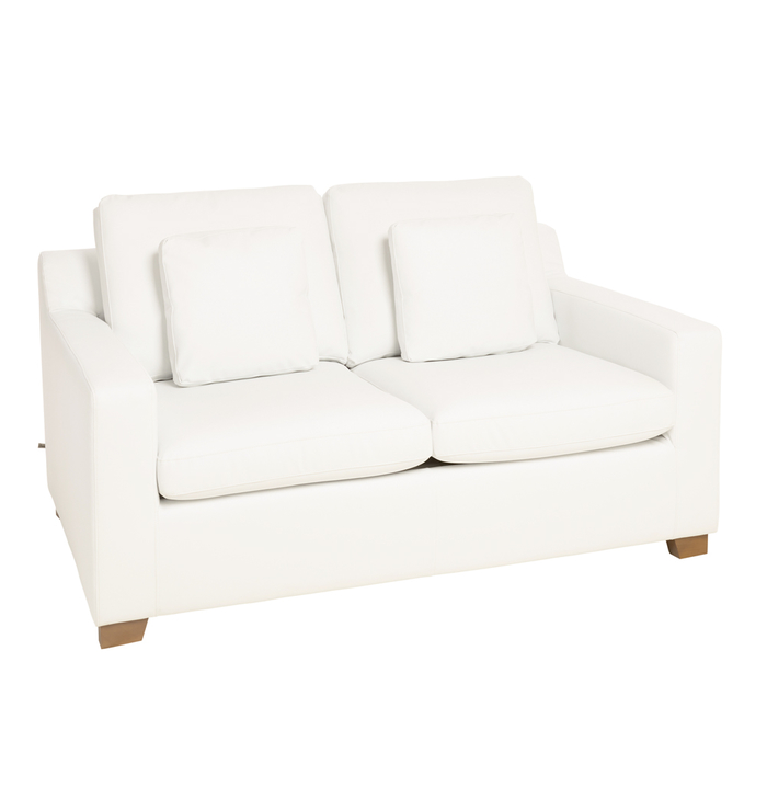 Ankara faux leather two seater sofa bed brilliant white