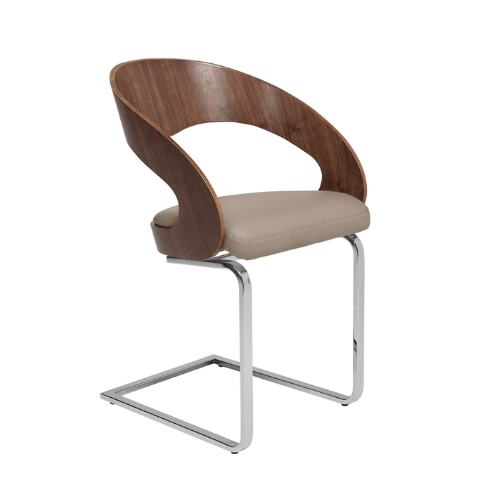 Curved padded dining chair walnut and stone
