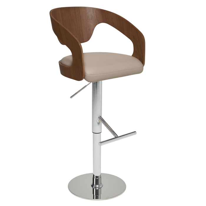 Curved padded bar stool stone