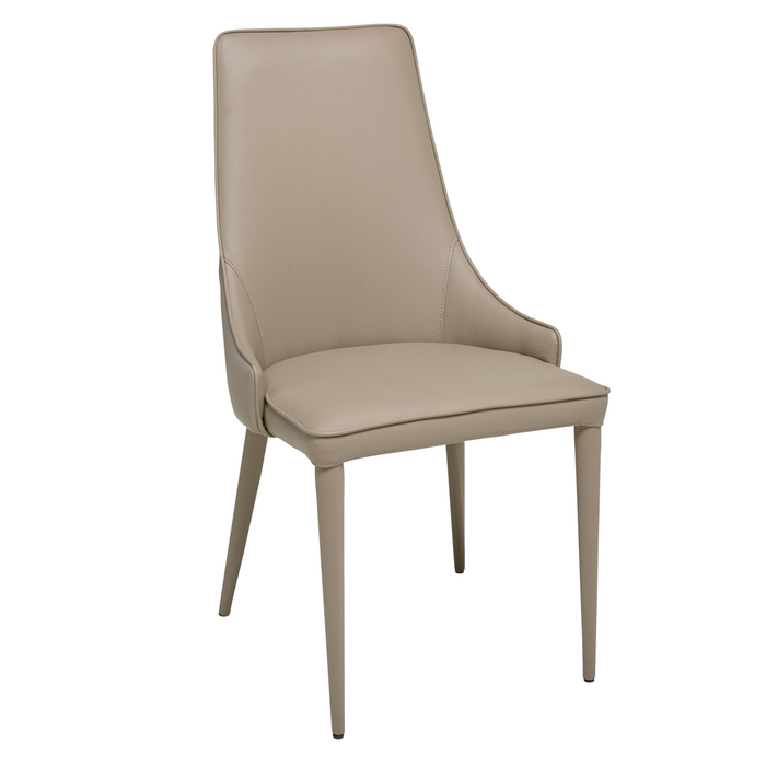 Tapered dining chair faux leather stone