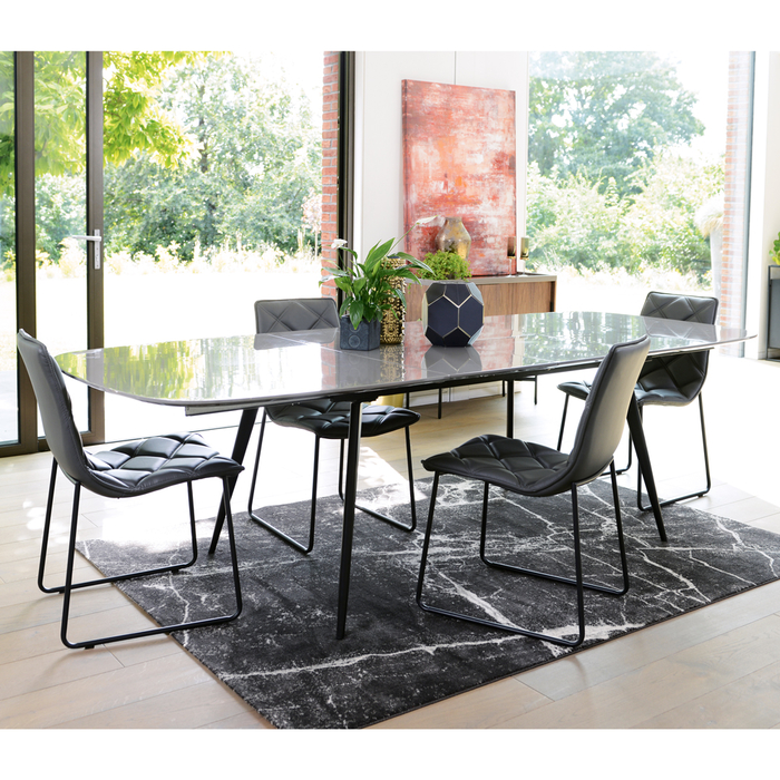 Vigo double extending 6-12 seater dining table stone gloss