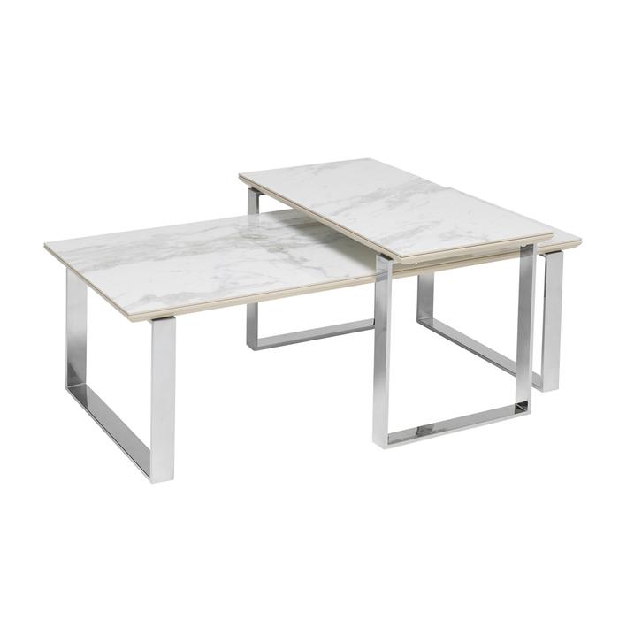 Span marble ceramic coffee table set white