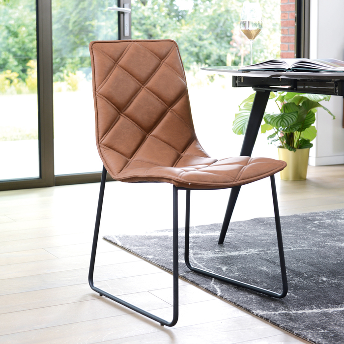 Portela dining chair faux leather tan