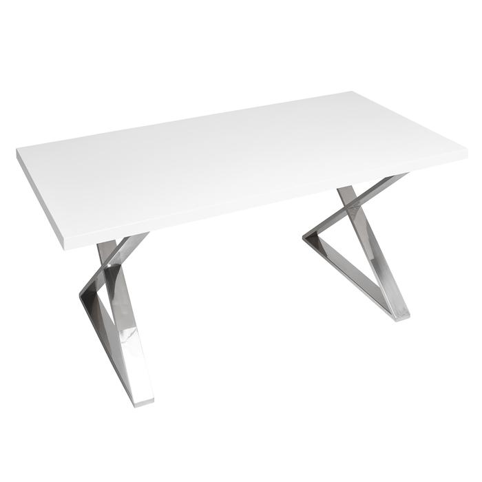 Crossed leg dining table chrome legs white