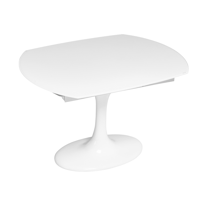 Lille extending dining table white glass