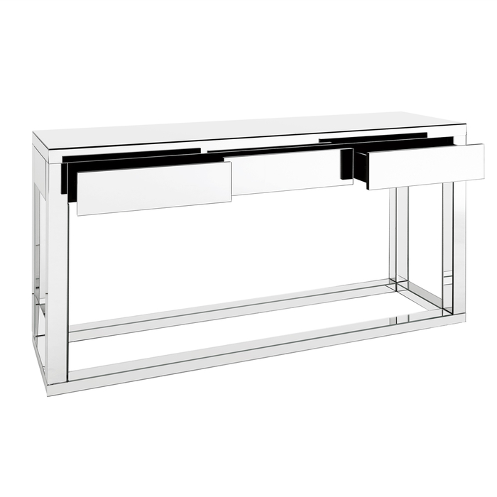 Reflect mirrored three drawer console table