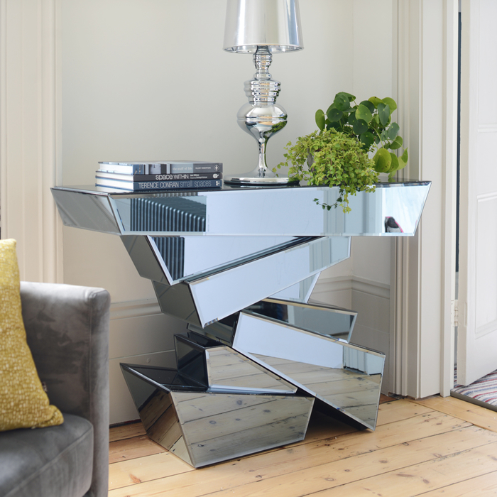 Shard layered smoked mirrored console table