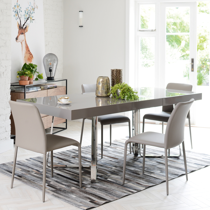 8 Seater Dining Table: Brewer Extending Gloss 6-8 Seater Dining Table Stone