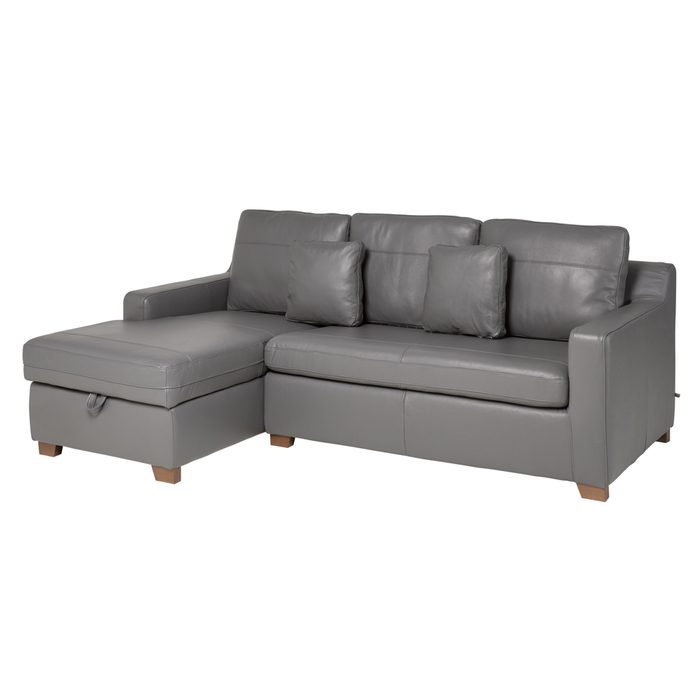 Ankara leather left hand corner sofa bed with storage grey