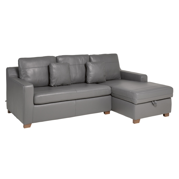 Ankara leather right hand corner sofa bed with storage grey