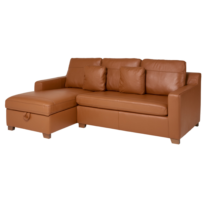 Ankara leather left hand corner sofa bed with storage tan